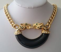 JC JACKIE COLLINS Gold Plated Black Enamel Rhinestone Double Panther Pendant Necklace