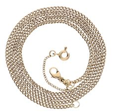 14 kt Yellow gold curb link necklace with a safety chain - 53.5 cm