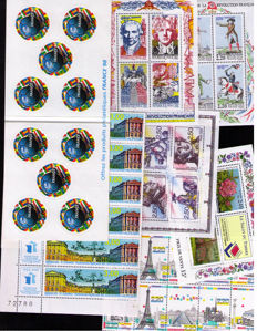 France 1980/2000 - selection of sets, blocs (some in quantity) - between Yv. P2200A/2922+BFs, Face Value