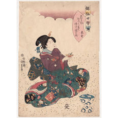"Original woodblock print ""Beauty offering Flower, Haiku Poem by Hattori Ransetsu"" from the rare ""Ten Pupils of Basho"" series by Utagawa Kunisada (1786- 1865) - Japan - ca. 1843"