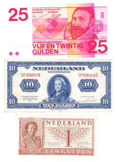 Netherlands - 1, 10 and 25 guilders - 3 different banknotes