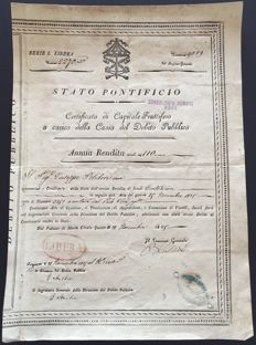 Papal State - old debt - Chirography of public debt - Monte Citorio palace, 1829