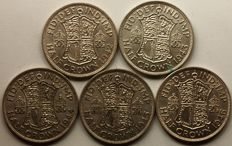 United Kingdom - ½ Crown 1942, 1943,  1944, 1945 and 1946 George VI (5 coins) - silver