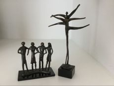 "Corry Ammerlaan van Niekerk - two bronze sculptures "" Dans "" and "" Samenwerking """