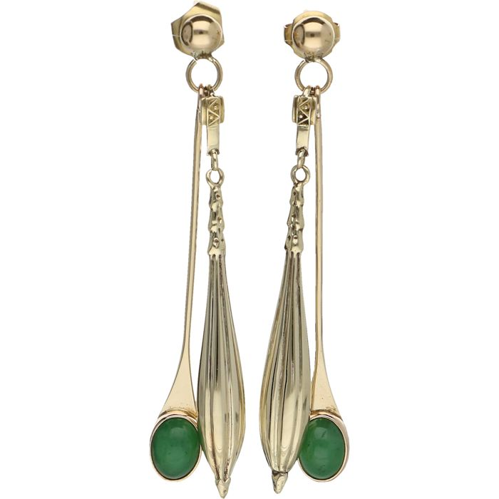 Earrings - 14 kt yellow gold - jade - 55 x 5 mm.