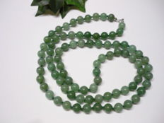 old Jade-Nephrite light apple green necklace, ca. beginning  of the 20th Century, ca. 85 grams
