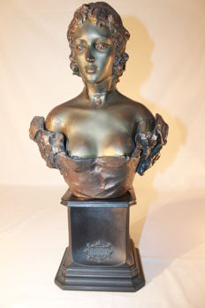Sculpture in terracotta named Celine with bronze finish - 9 kilos - unknown sculptor