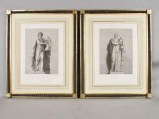 """Le Grand Tour"" A pair of very decorative classical subject engravings, France/Italy 19th century"
