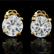 14K gold stud earring set with created moissanites - 13mm x 6mm