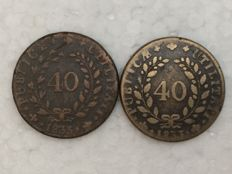 Portugal – Monarchy –  D. Maria II – 2 x 40 Réis coins – Pataco – 1833 – Vertical Axis – and 1833 Horizontal Axis – Bronze