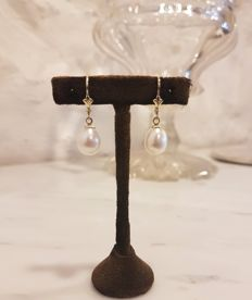 Gold earrings with freshwater pearl, 28 mm
