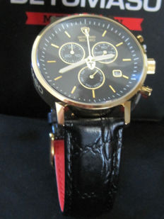 DETOMASO Milano  DT1052-K Chronograph Gilded Black Dial Leather Strap New
