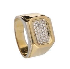 Ring - 18 kt bi-colour gold - diamonds 0.185 ct - size 19.5 mm