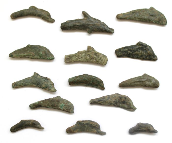 Greek Antiquity - Olbia. Lot comprsing 13 pieces of AE dolphin money- 1/25 Obol, c. 5th-4th Century B.C. & 1 Olbia. Cast Dolphin OY money - 1/10 Obol, circa 437-410 B.C.(14)