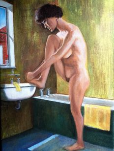 Original work; British artist - A naked woman in the bathroom - 2000