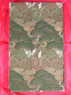 Silk maru obi (kimono sash) with houses and phoenixes - Japan - Taisho Period (1912-1926)