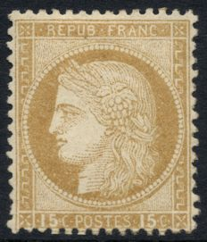 France 1873 – Cérès, 15c brown, new, signed Roumet – Yvert no. 55.