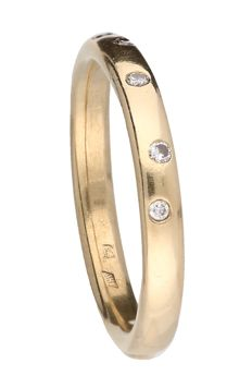 Ring - 14 kt yellow gold - diamond - ring size: 17.5 mm.