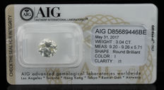 3.04ct. Diamond,  I Colour and I1 certified - Ex/Ex/Ex - Low Reserve
