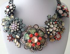 Joan Rivers Hematite-Tone High-End Floral Bib Necklace