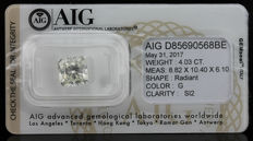 4.03ct. Diamond, Top Wesselton G Colour and SI2 certified - Low Reserve