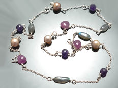 Long multi-stone silver necklace with pink sapphires, 68.5 cm length
