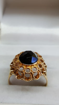 14 kt yellow gold handmade women's ring set with agate