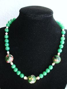 Old oriental Jade necklace with cloisonné enamel beads and gold filled marked clasp  ca. 1920-1930's