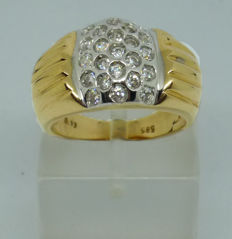 Gold k14 Ring with cubic zirconia size 51 (11)