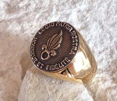 22 Grams Foreign Legion French Army Ring Flame massive Hypoallergenic 316L surgical steel 24kt Gold Plated 21st century