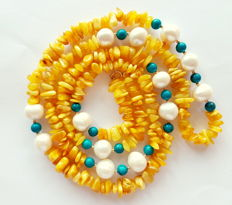 Amber, turquoise and pearl necklace, 585 gold clasp + dividing beads - length: 95 cm
