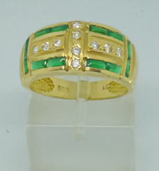 14 kt gold Ring with cubic zirconia - size 56 (16)
