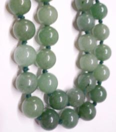 Vintage Jade-Nephrite light apple green necklace, ca.  beginning  20th Century, 85 gr.
