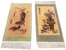 TWO Beautiful Pictorial Hand Knotted CHINES WALL HANGING RUGS