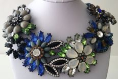 Joan Rivers Hematite Tone High-End Floral Bib Necklace