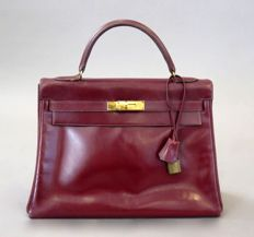 Hermes - vintage Kelly bag 32 in burgundy-red
