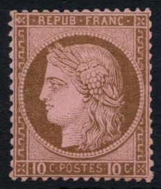 France 1875 - Ceres 10c brown on pink, new without hinge - Yvert no. 54