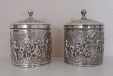 Two silver plated tea containers, The Netherlands around 1960
