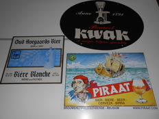 PIRAAT - KWAK - OUD HOEGAARDS Beer Advertising signs - 2nd half of the 20th century.