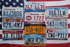 10 USA nummerplaten nummerborden kentekenplaten license plates