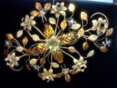 Large sized wrought iron ceiling light with gold leaf and rhinestone applications - new