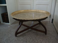 Extra large ( D ) 85 CM - Moroccan Traditional Tea Table Engraved Brass Tray Top Folding Solid Wood Base, C.a 1950