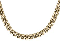 14k yellow gold fantasy link necklace - Length: 47 cm
