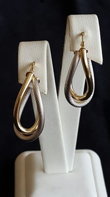 14Kt. Yellow & White Gold Earrings  , 30 mm long