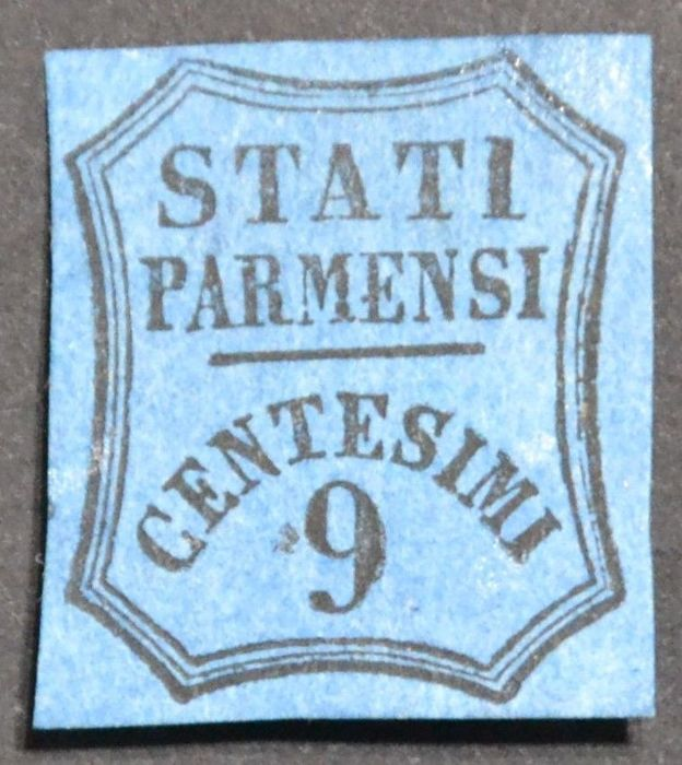 Parma 1853-1857 - 9 cent. Light blue - Sassone No.  2