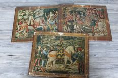 3 medieval scene's in stone on wood, medieval nobility