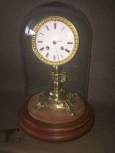 French mantle clock on oak base with glass bell jar - Approx. 1880