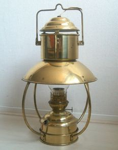 Large copper ship oil lamp, adapted to electricity