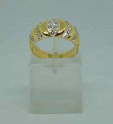 Gold 14k Ring with cubic zirconia - 51 (EU)