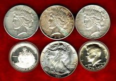 "United States – Collection of 6x coins, 1 dollar ""Liberty"" (3), 1 dollar ""American Silver Eagle"" (1 oz). 1/2 dollar (Kennedy) and 1/2 dollar (George Washington), 1925–1987. Silver. (6)"